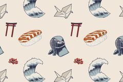 Illustration of japanese style food sushi the great wave royalty free illustration