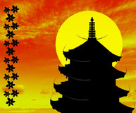 Illustration of a Japanese temple Royalty Free Stock Photography