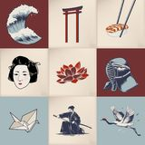 Illustration of Japanese traditional collage Royalty Free Stock Images
