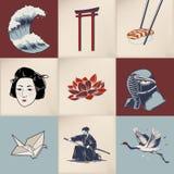 Illustration of Japanese traditional collage stock illustration