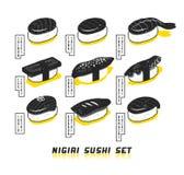 Illustration japonaise de nourriture de vecteur Ensemble de sushi de nigiri dans le style de croquis Photographie stock