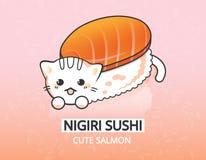 Illustration japonaise de nourriture de vecteur Personnage de dessin animé saumoné de sushi de nigiri de minou Images stock