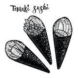 Illustration japonaise de nourriture de petit pain de Temaki Croquis de sushi de gravure photos stock