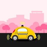 Illustration jaune Driverless de taxi Photographie stock