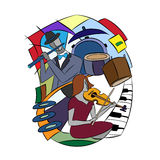 Illustration with Jazz players. Stock Image