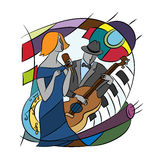 Illustration with Jazz players. Stock Photos