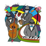 Illustration with Jazz players. Royalty Free Stock Images