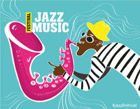 Illustration of a Jazz poster with saxophonist Stock Photography