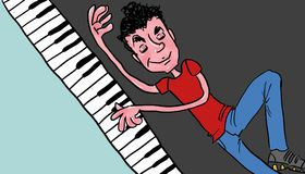 Illustration of a jazz ragtime pianist Stock Photos