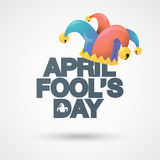 Illustration of a jester hat. April Fools Day. Vector typographical background. Royalty Free Stock Photos