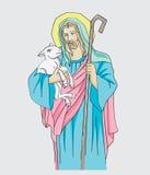 Illustration of Jesus Christ is the good shepherd, art vector design