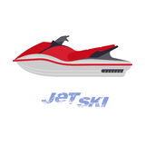 Illustration of jet ski. Vector flat illustration of jet ski. Summer rest. Sea vacation. Web graphics, banners, brochures, business templates. Illustration Royalty Free Stock Photos