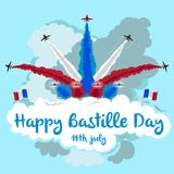 Illustration of jets flying in formation with copy space. Happy Bastille day. Illustration of jets flying in formation with copy space. Perfect for advertising Stock Photography