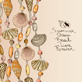 Illustration with jewelry of seashell and beads Royalty Free Stock Photos