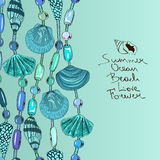 Illustration with jewelry of seashell and beads Royalty Free Stock Photo
