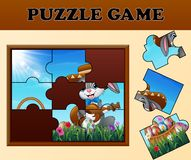 Jigsaw puzzle game with happy easter bunnies. Illustration of Jigsaw puzzle game with happy easter bunnies royalty free illustration