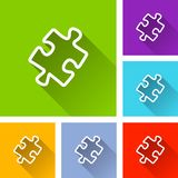 Jigsaw puzzle icons with shadow. Illustration of jigsaw puzzle icons with shadow Stock Photos