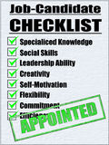 Illustration of a Job-Candidate Checklist. With Positive Results Stock Photography