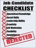 Illustration of a Job-Candidate Checklist. With Negative Results Royalty Free Stock Images