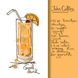 Illustration with John Collins cocktail Stock Photo