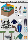 Illustration journey vector, Equipment for Trekking in the Rainforest. Stock Photography