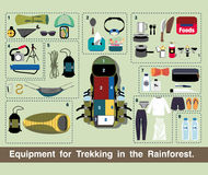 Illustration journey vector, Equipment for Trekking in the Rainforest. Stock Photos