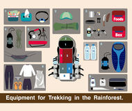 Illustration journey vector, Equipment for Trekking in the Rainforest. Royalty Free Stock Photography