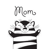 Illustration with joyful cat who shouts - Mom. For design of funny avatars, posters and cards. Cute animal. royalty free illustration