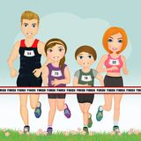 Joyful family runs. Illustration of joyful family runs Royalty Free Stock Photography
