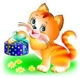 Illustration of joyful kitten holding a present. Royalty Free Stock Photos