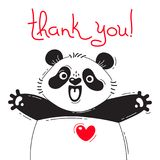Illustration with joyful panda who says - thank you. For design of funny avatars, posters and cards. Cute animal. Stock Images