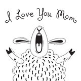 Illustration with joyful sheep who says - I Love You Mom. For design of funny avatars, posters and cards. Cute animal. stock illustration