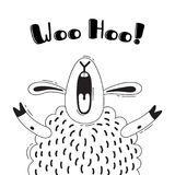 Illustration with joyful sheep who shouts - Woo Hoo. For design of funny avatars, welcome posters and cards. Cute animal. In vector Royalty Free Stock Photos
