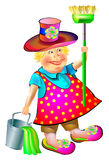 Illustration of joyful sweeper with broom and bucket. Royalty Free Stock Image