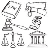 Illustration of judicial icons Stock Photos