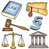 Illustration of judicial icons Stock Image