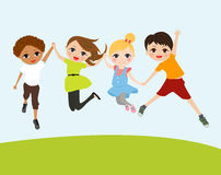 An illustration of jumping kids Stock Photo
