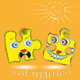 Illustration of just married Stock Photos