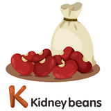 Illustration of k font with kidney beans. Cute and education Stock Photos