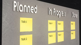 Illustration: Kanban Board - Planned, in Progress and Done Royalty Free Stock Photo