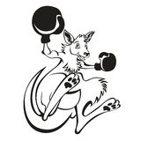 Illustration of a kangaroo kick boxer boxing with boxing gloves viewed from side on background done in cartoon style. Black and white illustration of a kangaroo Stock Illustration