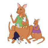 Illustration of kangaroo mother with her. Illustration of pointing with a finger kangaroo mother with her children Royalty Free Stock Photos