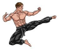 Karate Kung Fu Flying Kick Man Cartoon. An illustration of karate or kung fu martial artist delivering a flying kick Stock Images