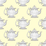 Illustration kettles. Seamless pattern with teapots. Royalty Free Stock Photo