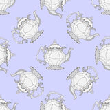 Illustration kettles. Seamless pattern with teapots. Royalty Free Stock Photography