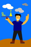 Illustration, key for success is balancing between work and pray Stock Photography