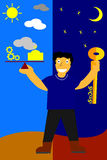 Illustration, key for success is balancing between work and pray Stock Photos