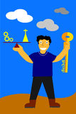 Illustration, key for success is balancing between work and pray Royalty Free Stock Images