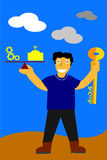 Illustration, key for success is balancing between work and pray Stock Image