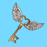 Illustration of the key with wings. Flying Golden Key vintage. Royalty Free Stock Photography